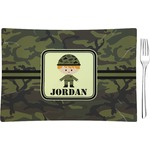 Green Camo Glass Rectangular Appetizer / Dessert Plate - Single or Set (Personalized)
