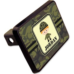 "Green Camo Rectangular Trailer Hitch Cover - 2"" (Personalized)"