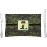 Green Camo Glass Rectangular Lunch / Dinner Plate - Single or Set (Personalized)
