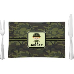 Green Camo Rectangular Glass Lunch / Dinner Plate - Single or Set (Personalized)