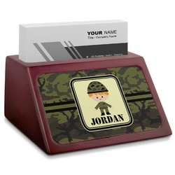 Green Camo Red Mahogany Business Card Holder (Personalized)
