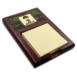 Green Camo Red Mahogany Sticky Note Holder (Personalized)