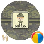 Green Camo Round Beach Towel (Personalized)