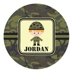 Green Camo Round Decal - Custom Size (Personalized)