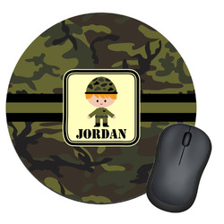 Green Camo Round Mouse Pad (Personalized)