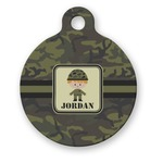 Green Camo Round Pet Tag (Personalized)