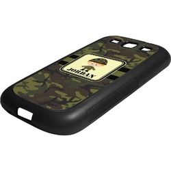 Green Camo Rubber Samsung Galaxy 3 Phone Case (Personalized)