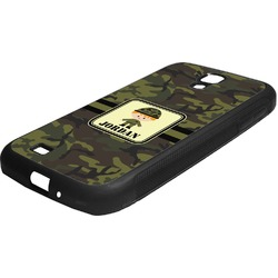 Green Camo Rubber Samsung Galaxy 4 Phone Case (Personalized)