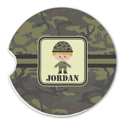 Green Camo Sandstone Car Coaster - Single (Personalized)