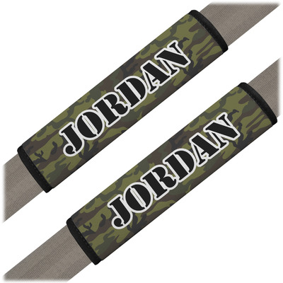 Green Camo Seat Belt Covers (Set of 2) (Personalized)