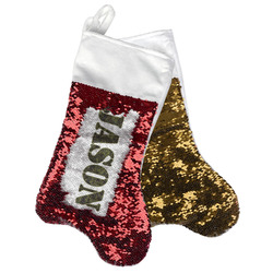 Green Camo Reversible Sequin Stocking (Personalized)