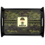 Green Camo Black Wooden Tray (Personalized)