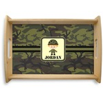 Green Camo Natural Wooden Tray (Personalized)