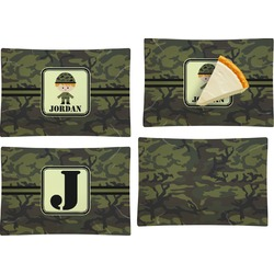 Green Camo Set of 4 Glass Rectangular Appetizer / Dessert Plate (Personalized)