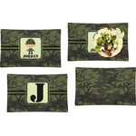 Green Camo Set of 4 Rectangular Dinner Plates (Personalized)