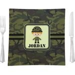 Green Camo Glass Square Lunch / Dinner Plate 9.5