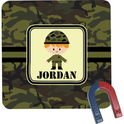 Green Camo Square Fridge Magnet (Personalized)