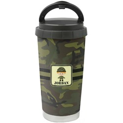 Green Camo Stainless Steel Travel Mug (Personalized)