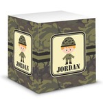 Green Camo Sticky Note Cube (Personalized)