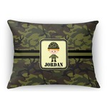 Green Camo Rectangular Throw Pillow (Personalized)
