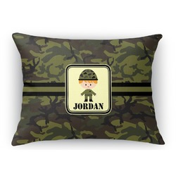 Green Camo Rectangular Throw Pillow Case (Personalized)
