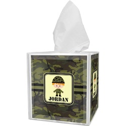 Green Camo Tissue Box Cover (Personalized)