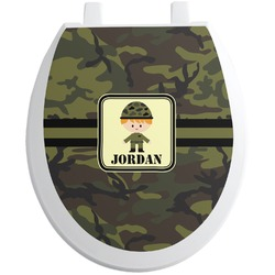 Green Camo Toilet Seat Decal (Personalized)