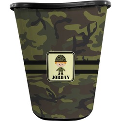 Green Camo Waste Basket - Double Sided (Black) (Personalized)