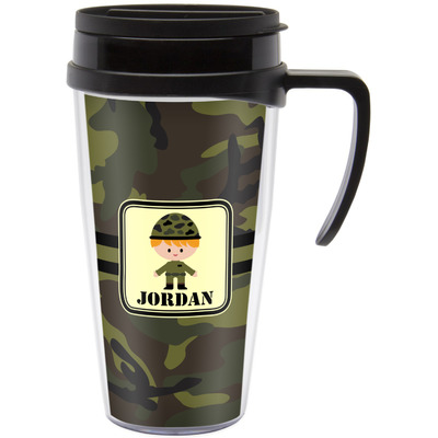 Green Camo Travel Mug with Handle (Personalized)