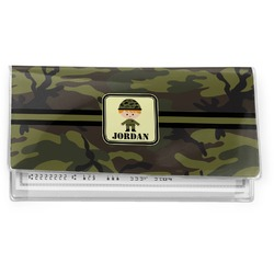 Green Camo Vinyl Checkbook Cover (Personalized)