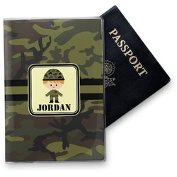 Green Camo Vinyl Passport Holder (Personalized)