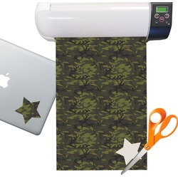 Green Camo Sticker Vinyl Sheet (Permanent)