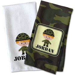 Green Camo Waffle Weave Kitchen Towel (Personalized)