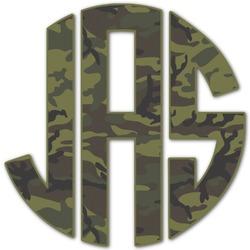 Green Camo Monogram Decal - Custom Sized (Personalized)