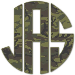 Green Camo Monogram Decal - Custom Sized (Personalized)