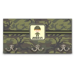 Green Camo Wall Mounted Coat Rack (Personalized)