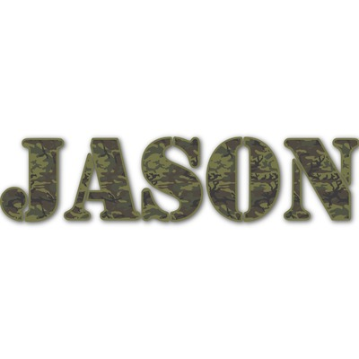 Green Camo Name/Text Decal - Custom Sizes (Personalized)