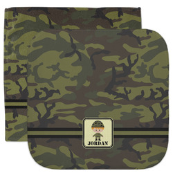 Green Camo Facecloth / Wash Cloth (Personalized)