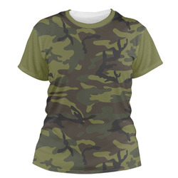 Green Camo Women's Crew T-Shirt (Personalized)