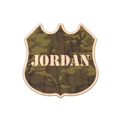 Green Camo Genuine Maple or Cherry Wood Sticker (Personalized)