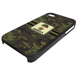 Green Camo Plastic 4/4S iPhone Case (Personalized)