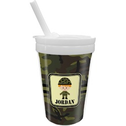 Green Camo Sippy Cup with Straw (Personalized)