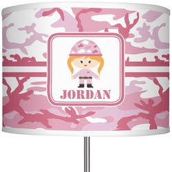 """Pink Camo 13"""" Drum Lamp Shade Polyester (Personalized)"""