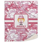 Pink Camo Sherpa Throw Blanket (Personalized)