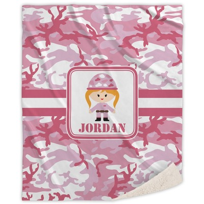 "Pink Camo Sherpa Throw Blanket - 50""x60"" (Personalized)"