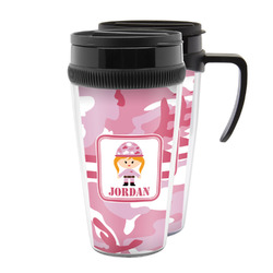 Pink Camo Acrylic Travel Mugs (Personalized)