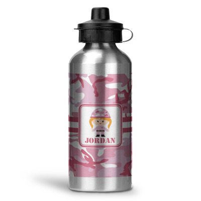 Pink Camo Water Bottle - Aluminum - 20 oz (Personalized)