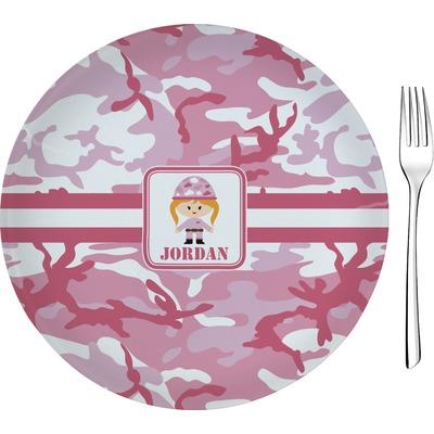 """Pink Camo 8"""" Glass Appetizer / Dessert Plates - Single or Set (Personalized)"""