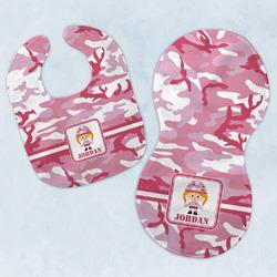 Pink Camo Baby Bib & Burp Set w/ Name or Text