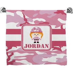 Pink Camo Full Print Bath Towel (Personalized)